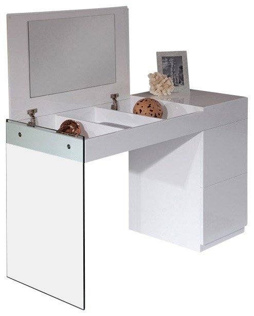 Best Volare Modern White Floating Glass Vanity With Mirror With Pictures