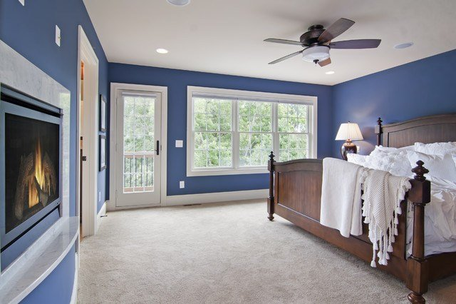 Best Master Bedroom With Fireplace Balcony Traditional With Pictures