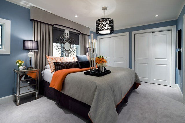 Best Jane Lockhart Blue Gray Orange Bedroom Contemporary With Pictures