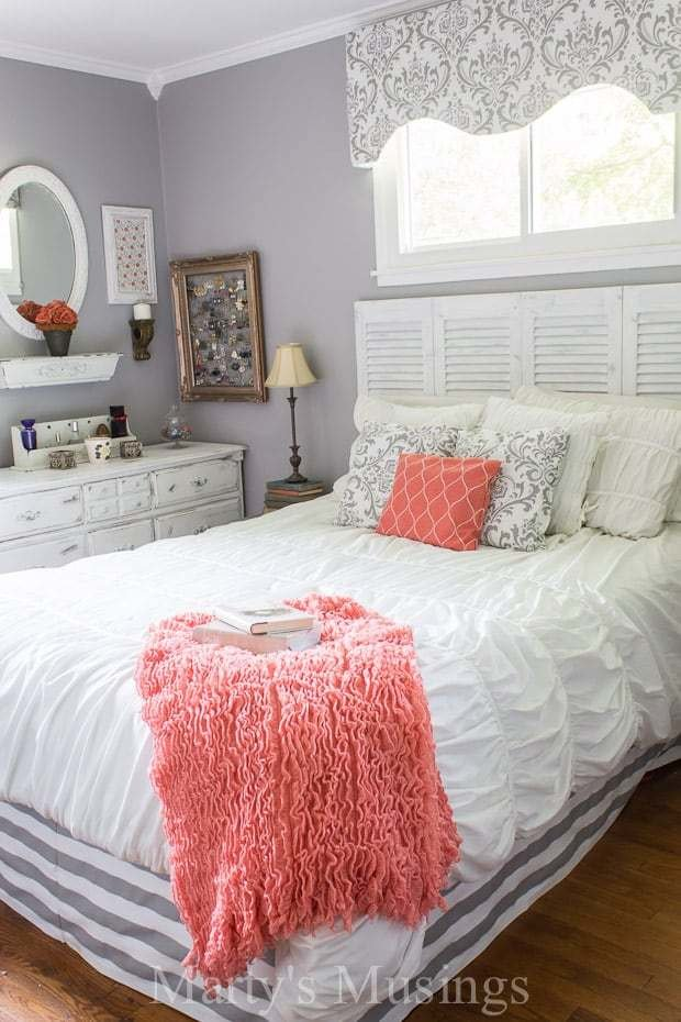 Best Gray And Coral Bedroom Makeover With Pictures