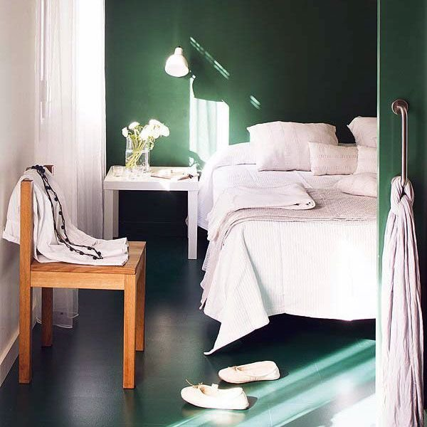 Best Dark Green Wall Color Bedroom High Contrast Interior Design Pint… With Pictures