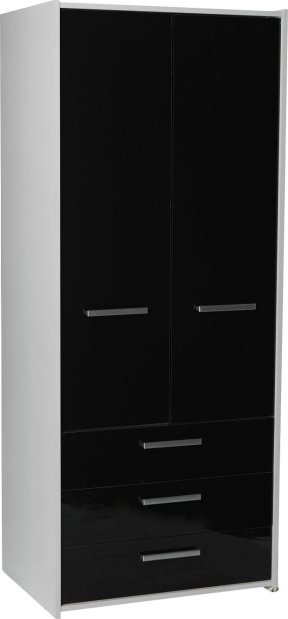 Best Buy Home New Sywell 2 Door 3 Drw Wardrobe White Black With Pictures