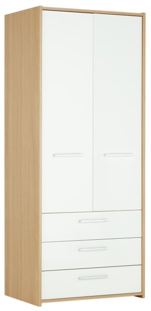 Best Buy Home New Sywell 2 Door 3 Drawer Wardrobe Oak White With Pictures