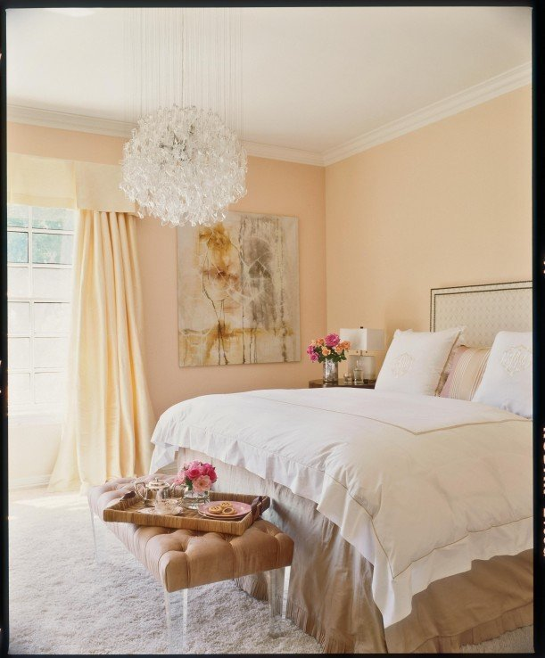 Best Pale Peach Walls And Drapes Instantly Soften A Bedroom With Pictures