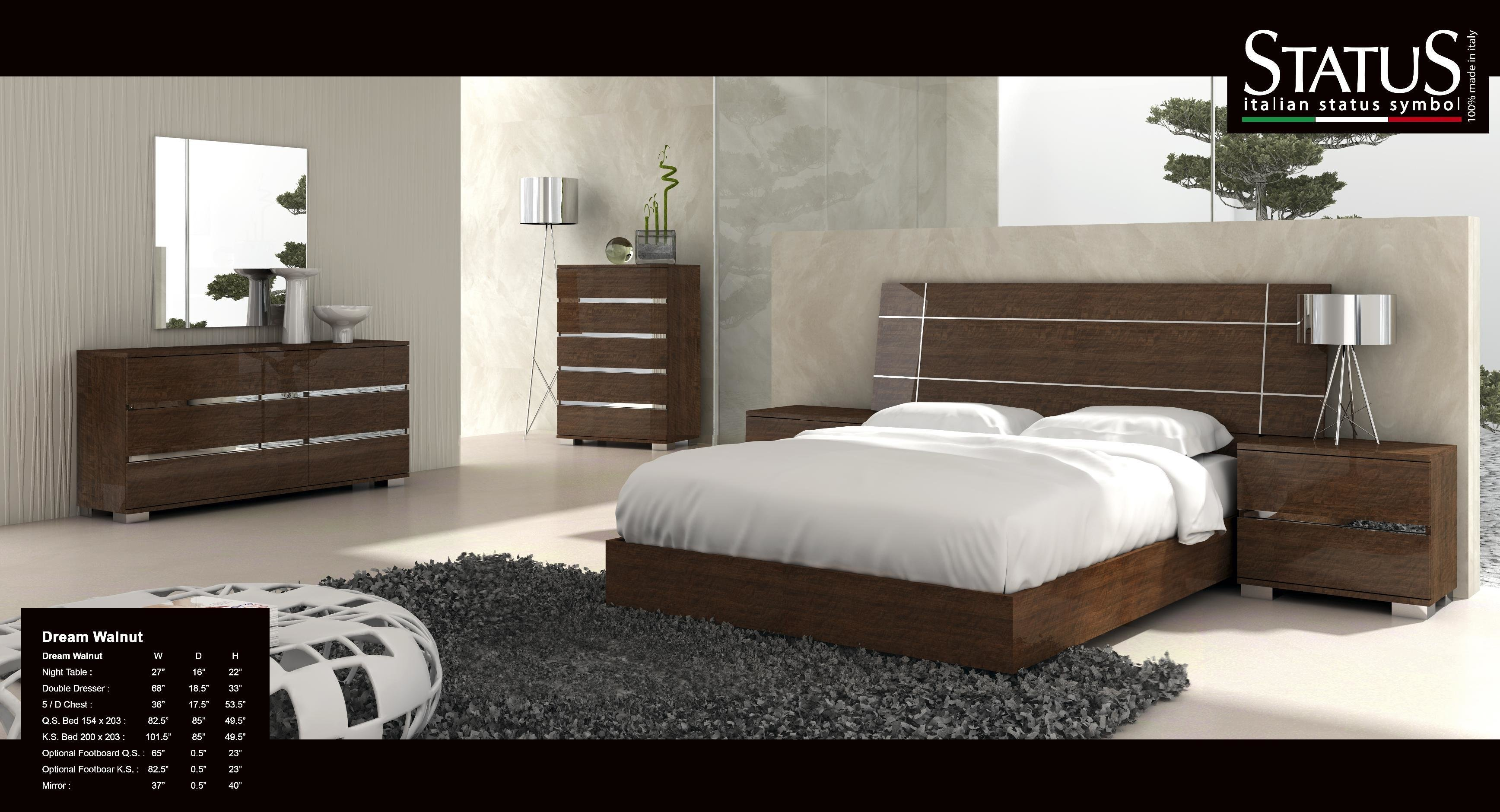 Best Dream King Size Modern Design Bedroom Set Walnut 5 Pc Bed Made In Italy Ebay With Pictures