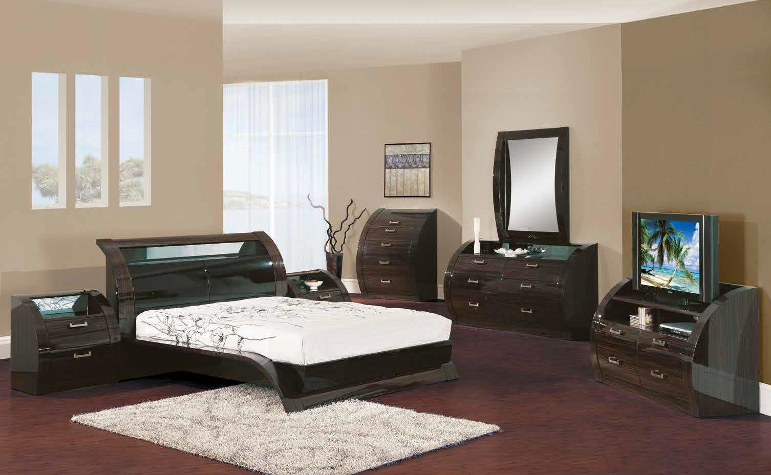 Best Madison Black Zebrano 5Pc King Size Modern Bedroom Set With Pictures