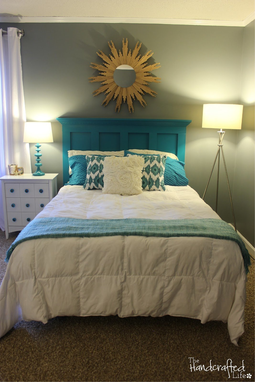Best The Handcrafted Life Teal White And Grey Guest Bedroom With Pictures