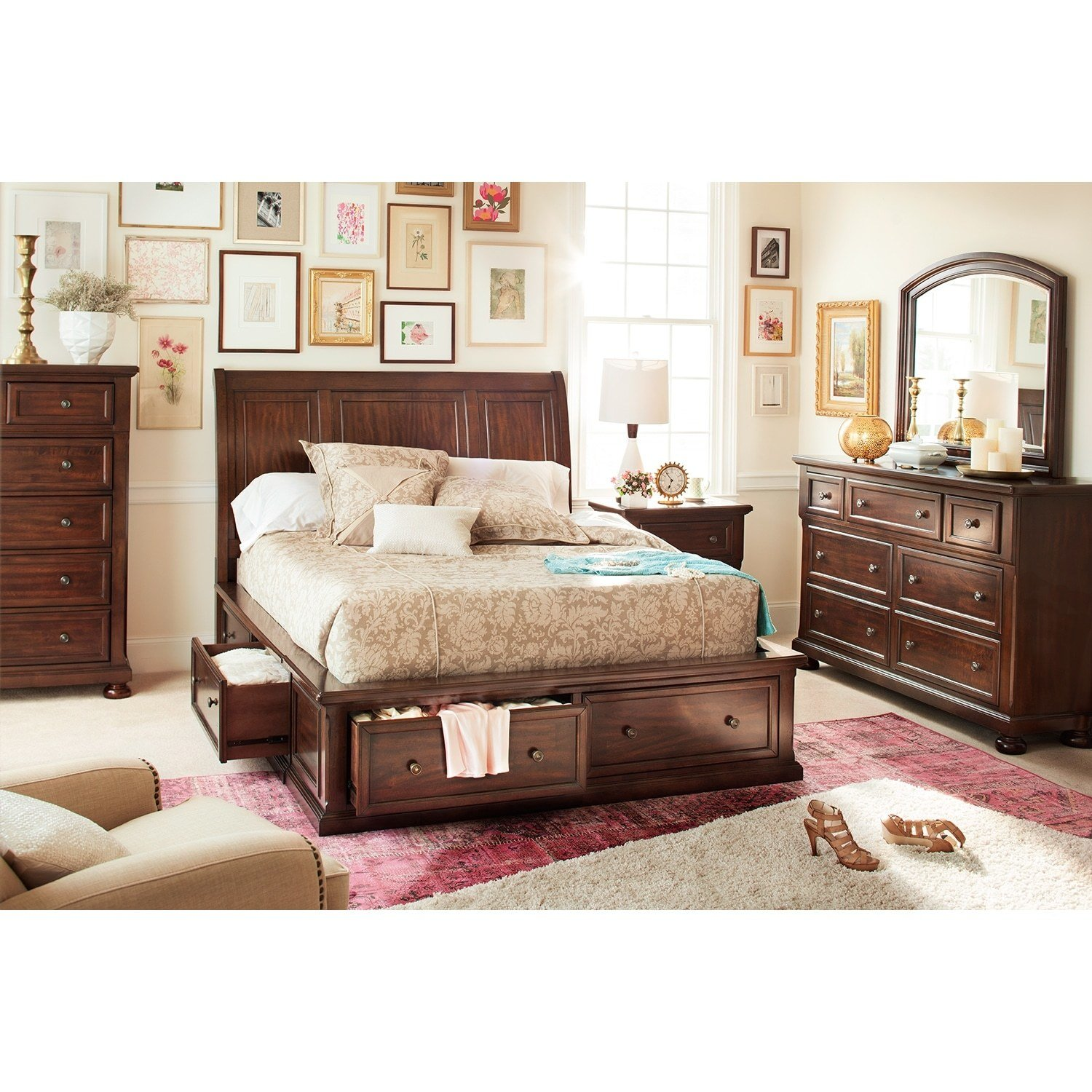 Best Hanover 7 Piece King Storage Bedroom Set Cherry With Pictures