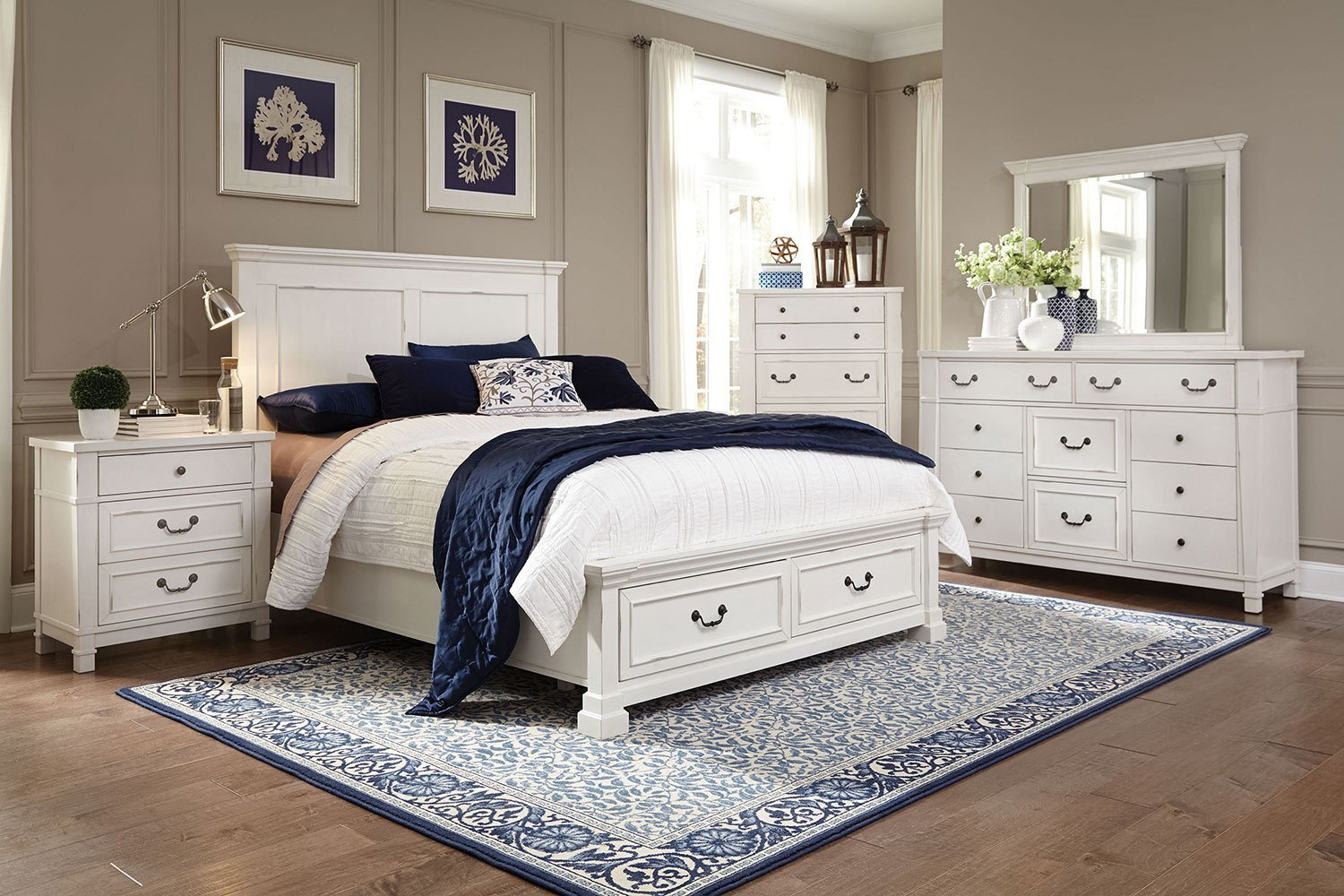 Best Taryn 4 Piece Queen Storage Bedroom Set Antique White With Pictures