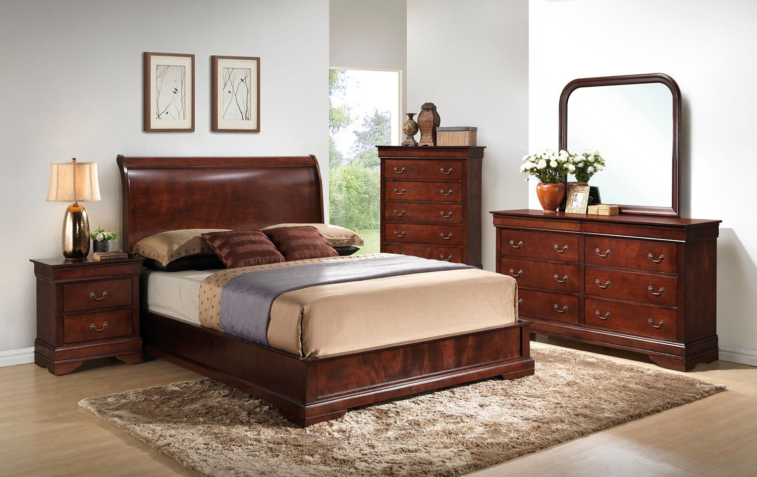 Best Claire 4 Piece King Bedroom Set Brown Cherry Levin With Pictures