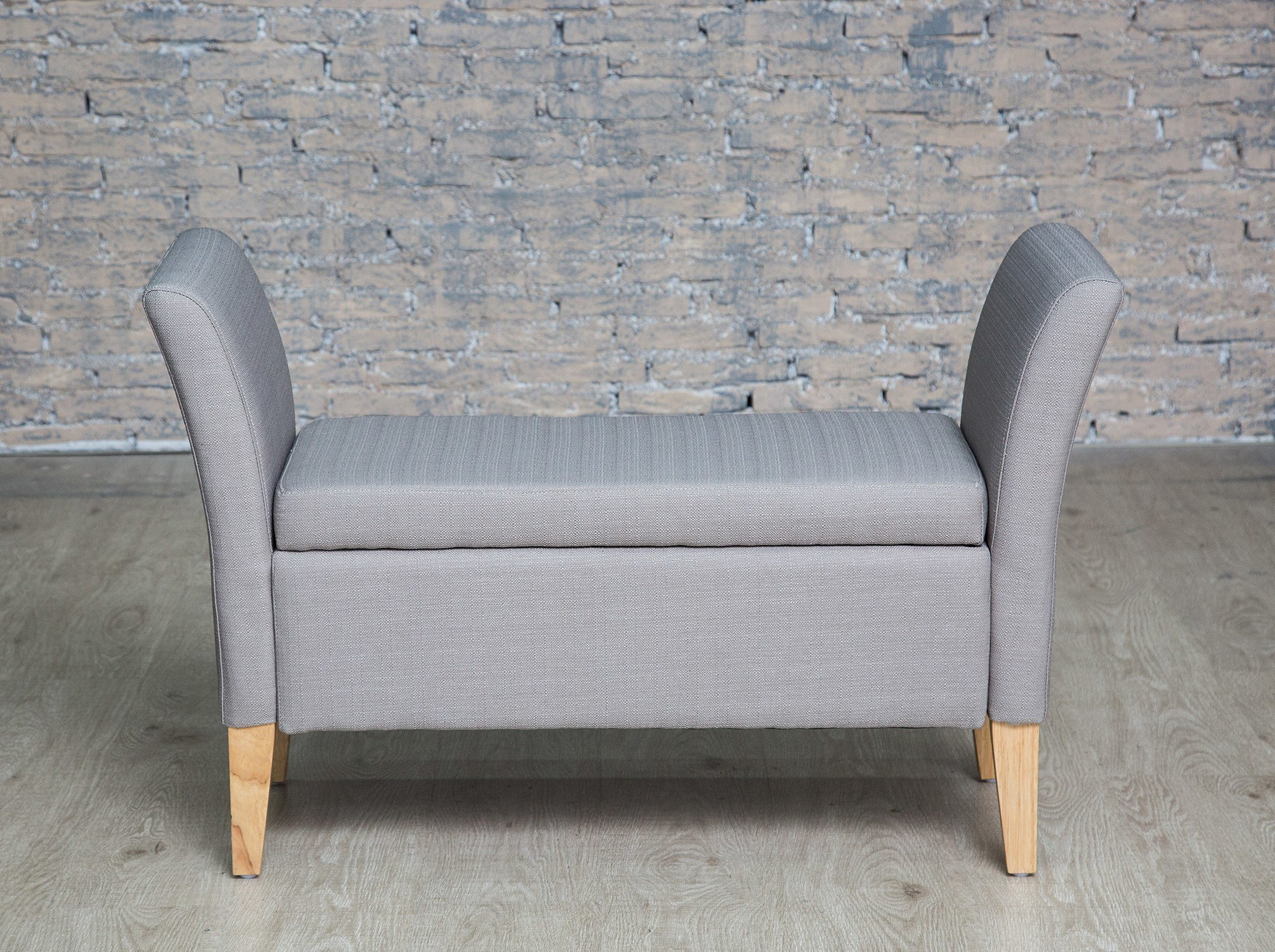 Best Light Grey Upholstered Storage Bench With Arms Storage With Pictures