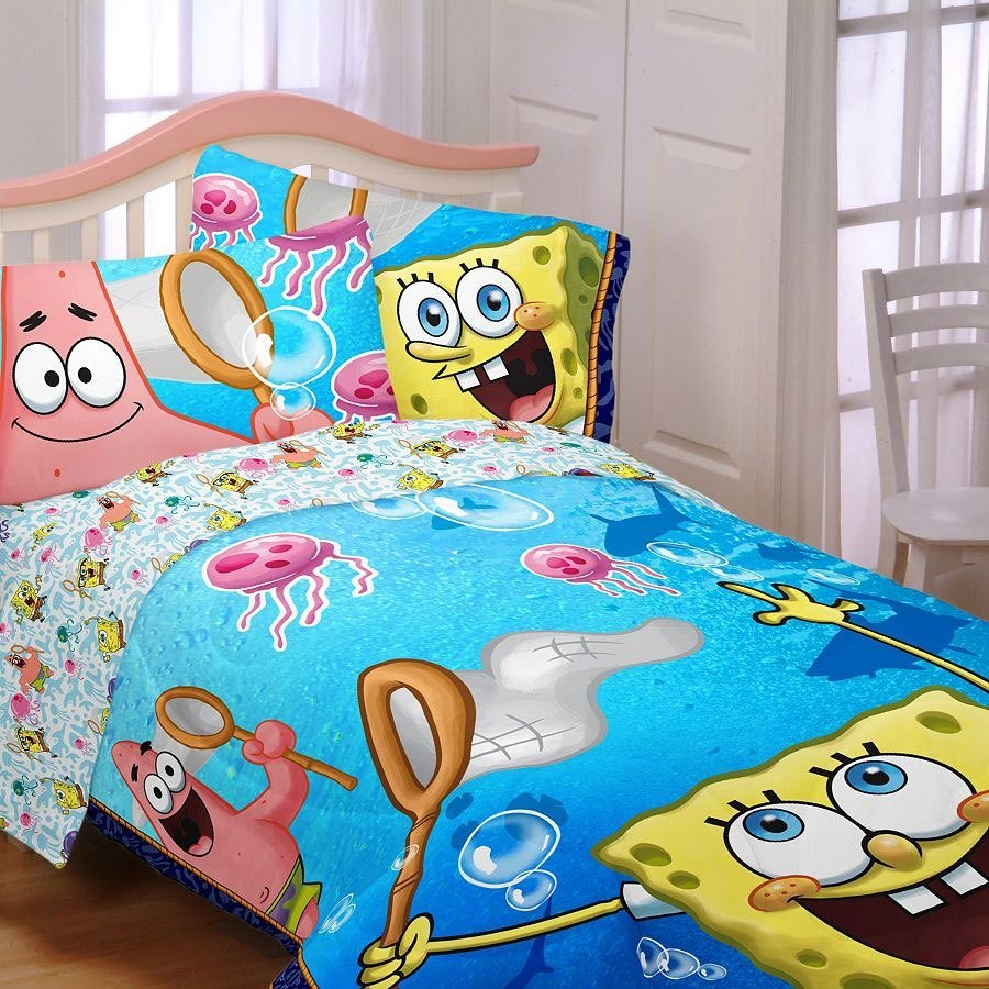 Best Spongebob Twin Sheet Set 3Pc Jellyfishing Bedding Twin Size With Pictures