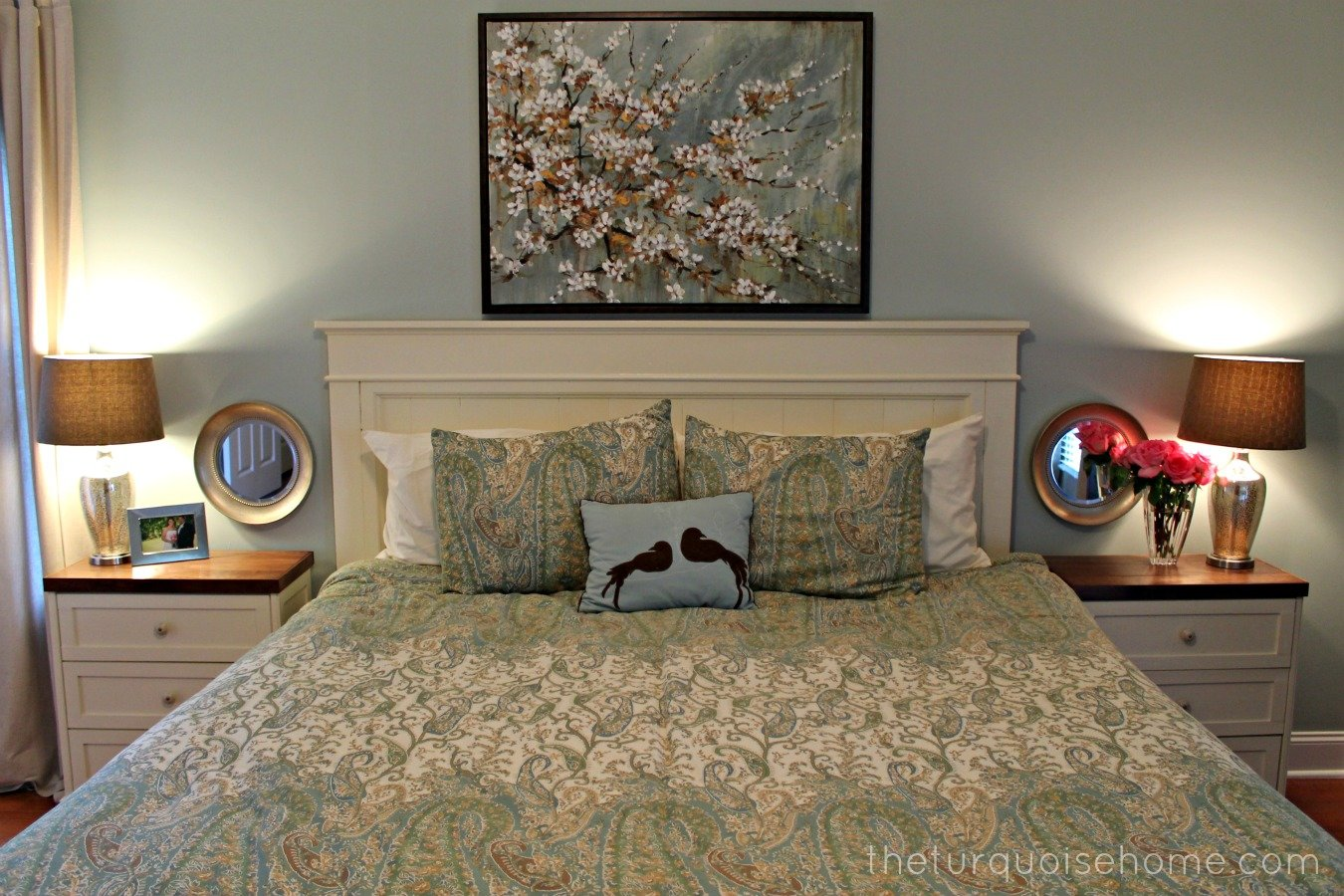 Best Diy Headboard Master Bedroom Update The Turquoise Home With Pictures