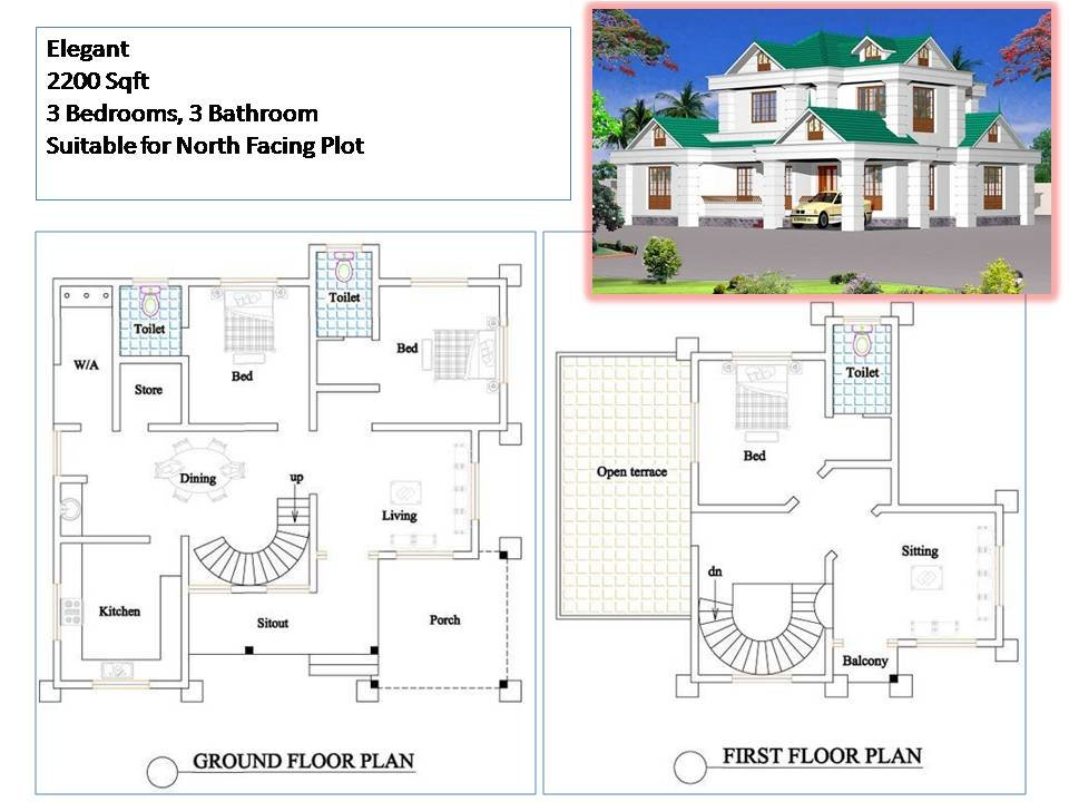 Best Kerala Style House Plans 2200 Sqft 3 Bedroom 2 Story House With Pictures