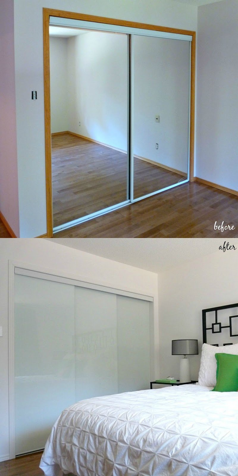 Best New White Glass Sliding Closet Doors In The Bedroom With Pictures