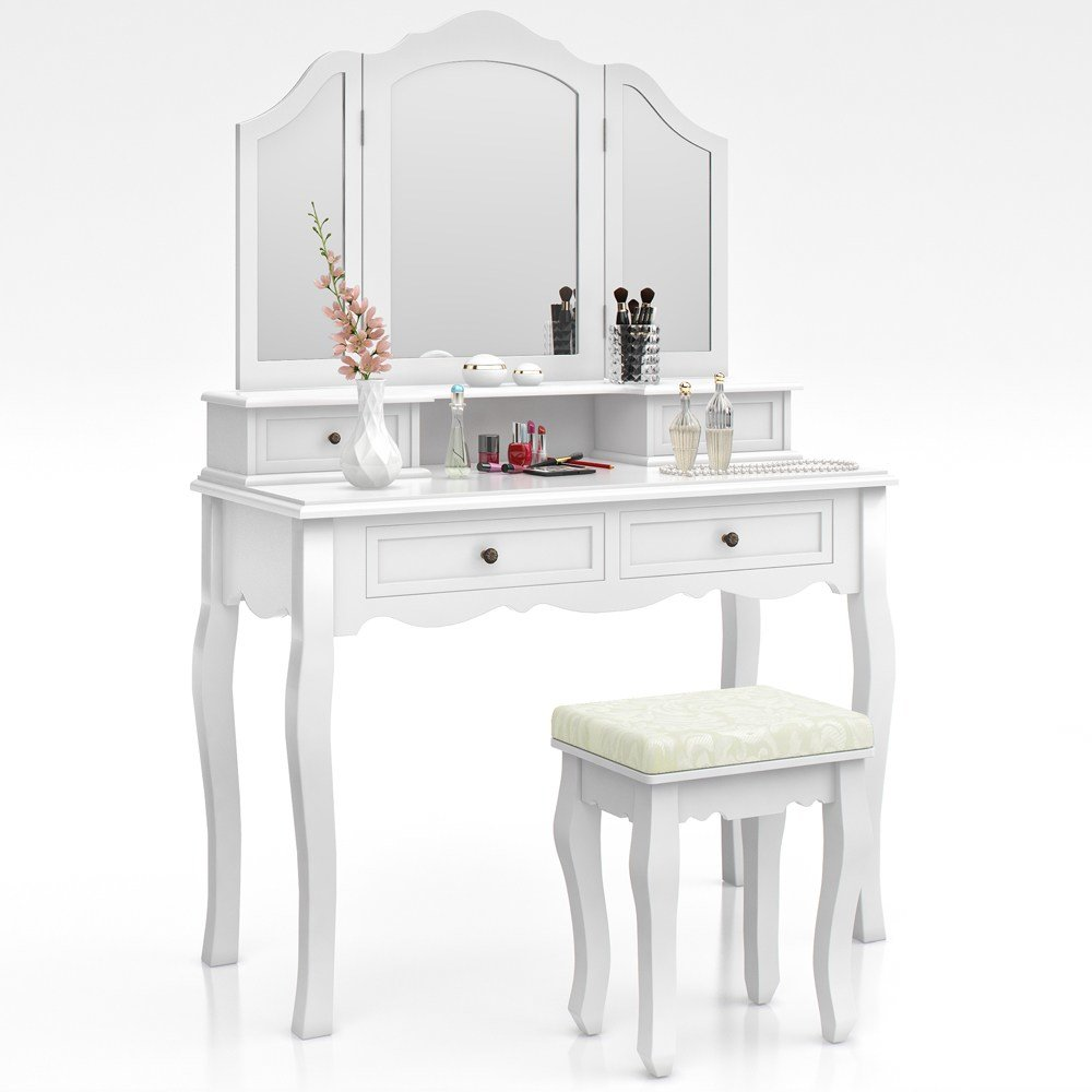 Best Dressing Table Stool Makeup Table Storage Mirror Bedroom With Pictures