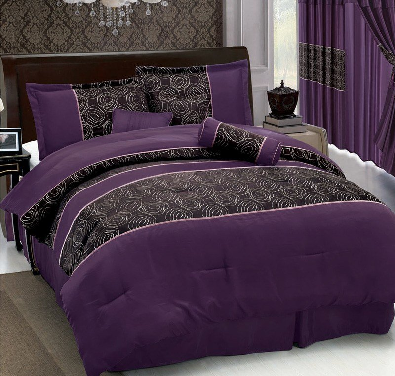 Best 7Pcs Queen Purple Jacquard Comforter Set Ebay With Pictures