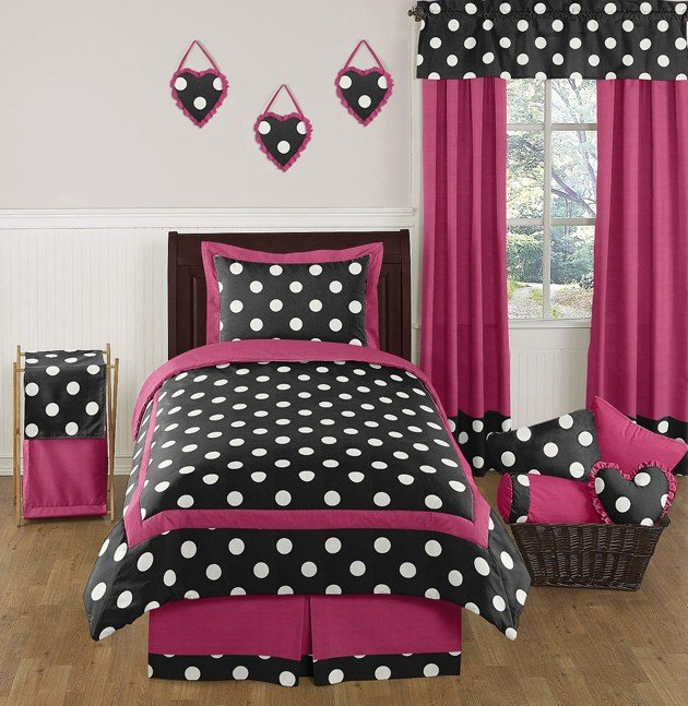 Best Cheap Hot Pink Black White Polka Dot Teens Kids Twin Size With Pictures