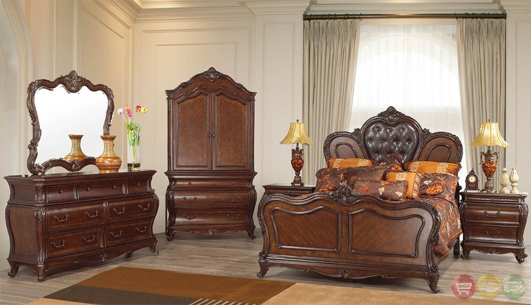 Best Beth Traditional Cherry Upholstered Bedroom Set With Stone With Pictures