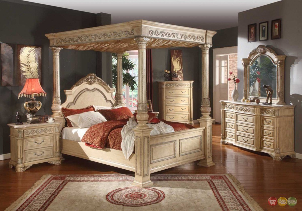 Best Kamella Antique White Traditional King Poster Canopy Bed 4 With Pictures