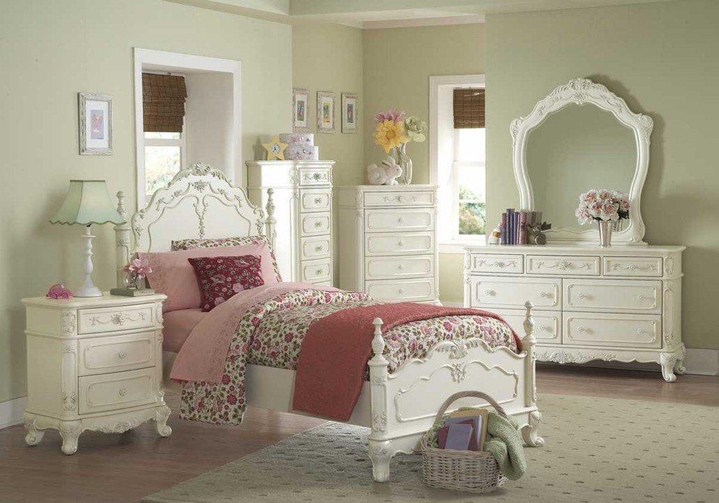 Best Princess White Floral Design Youth Bedroom Furniture Set With Pictures