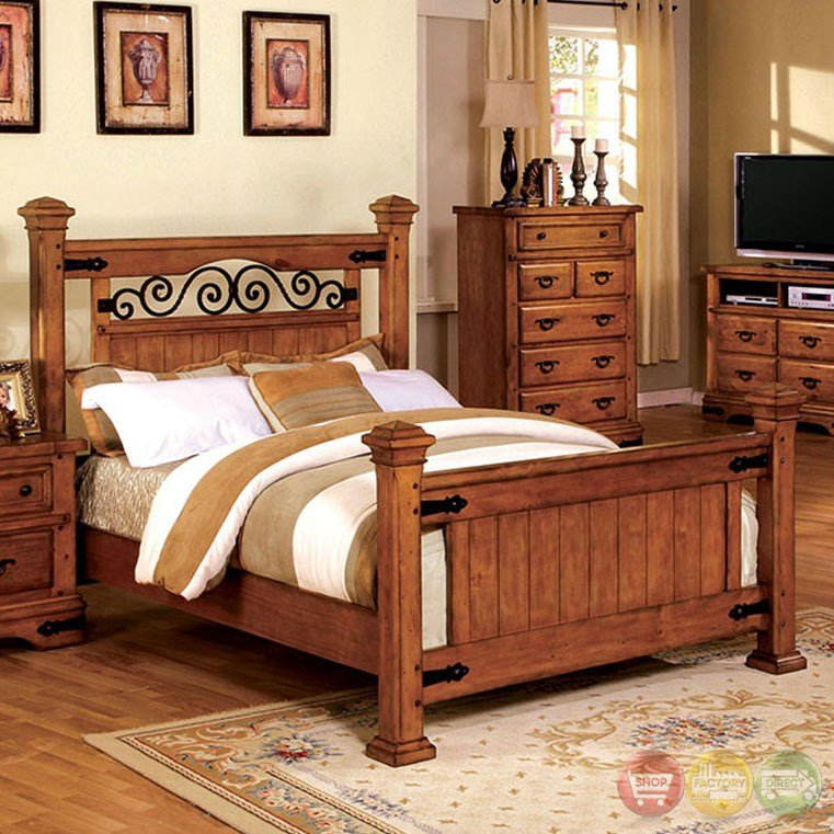 Best Sonoma Country American Oak Poster Bedroom Set With Rod With Pictures