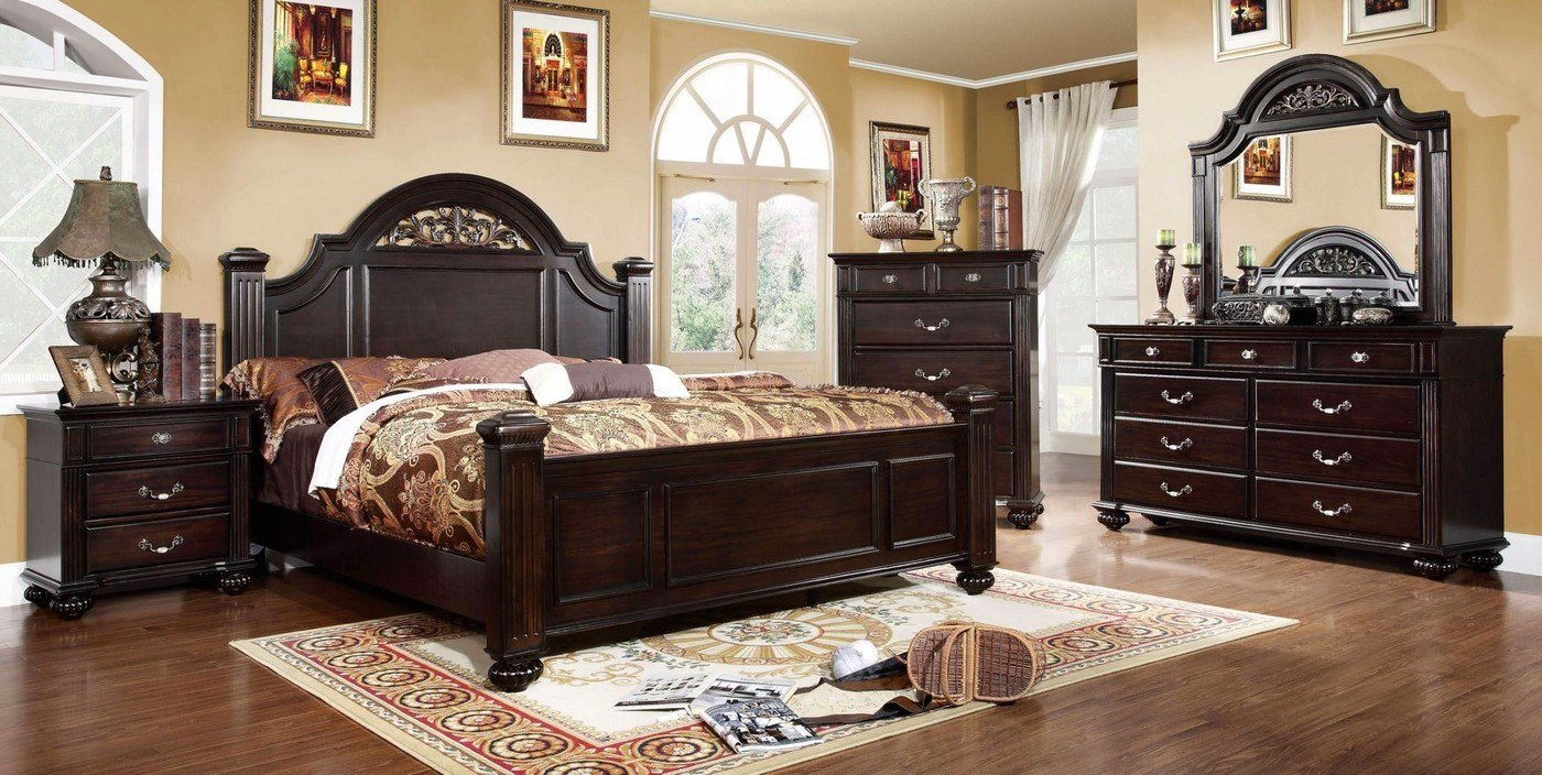 Best Dark Walnut Bedroom Set Syracuse Bedroom Set Shop Factory Direct With Pictures