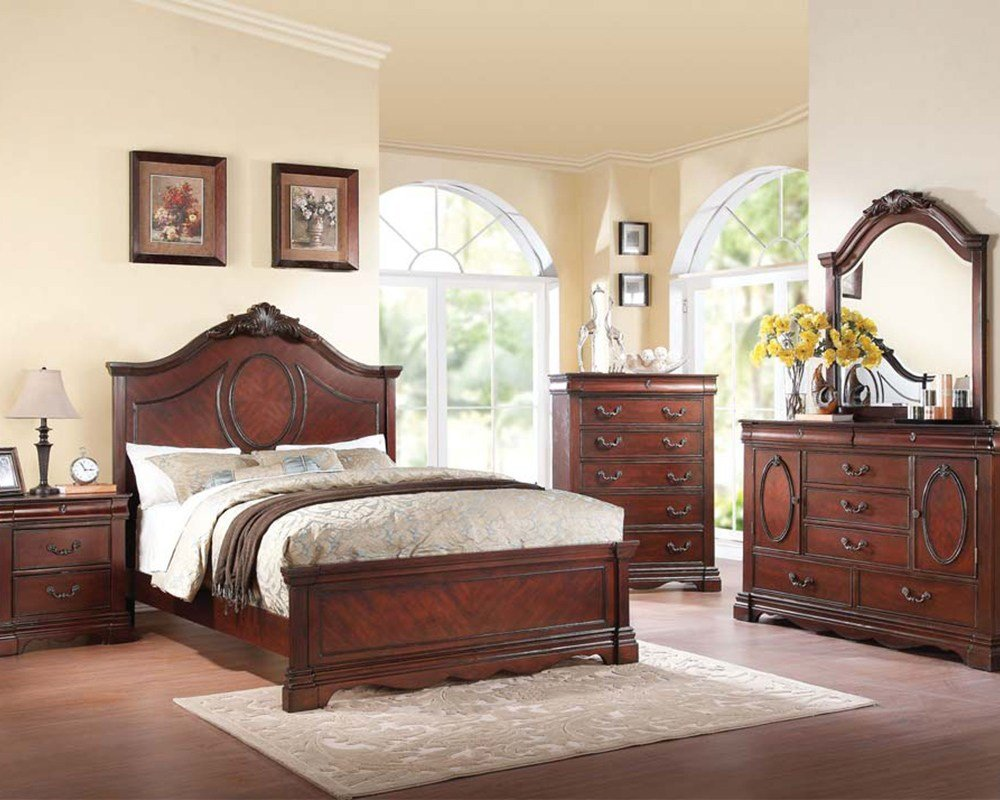 Best Dark Cherry Bedroom Set Estrella By Acme Furniture Ac20730Set With Pictures