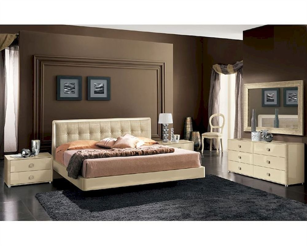 Best Modern Bedroom Set In Beige Finish Made In Italy 33B101 With Pictures