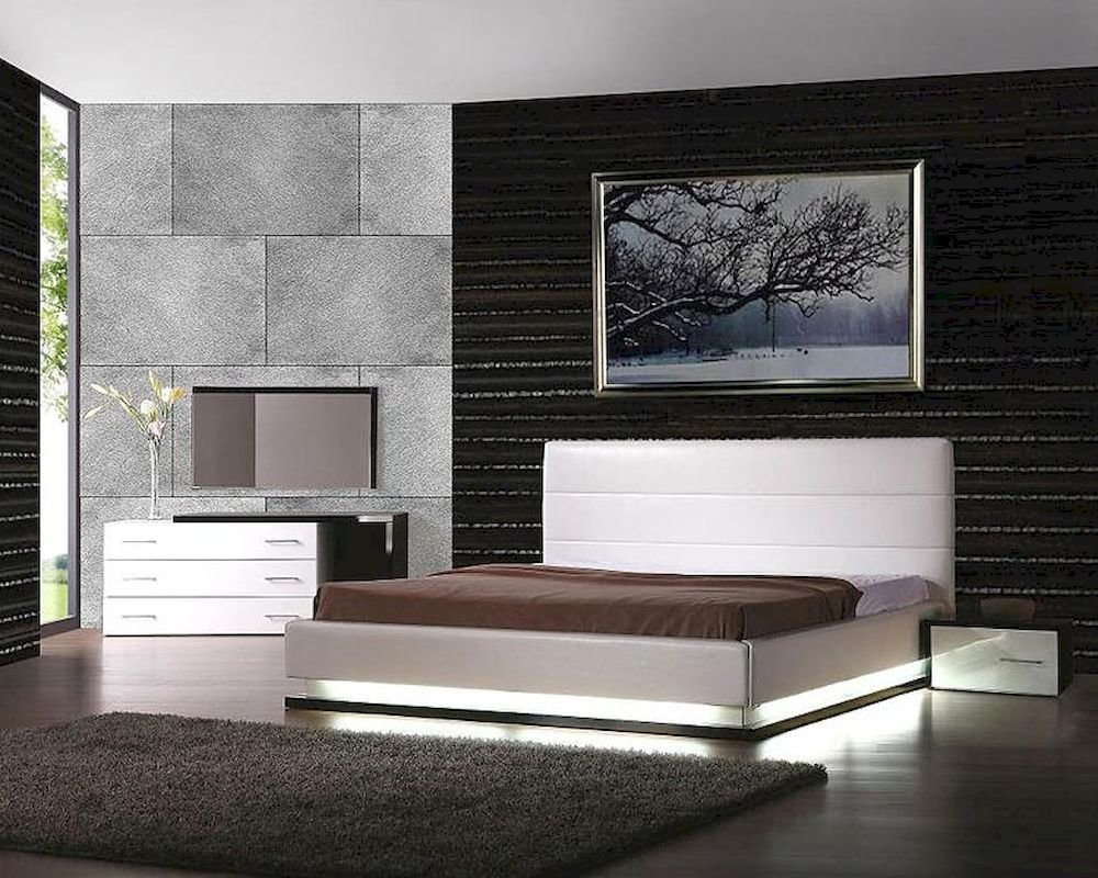 Best Modern Design Platform Bedroom Set Made In Italy 44B3611 With Pictures