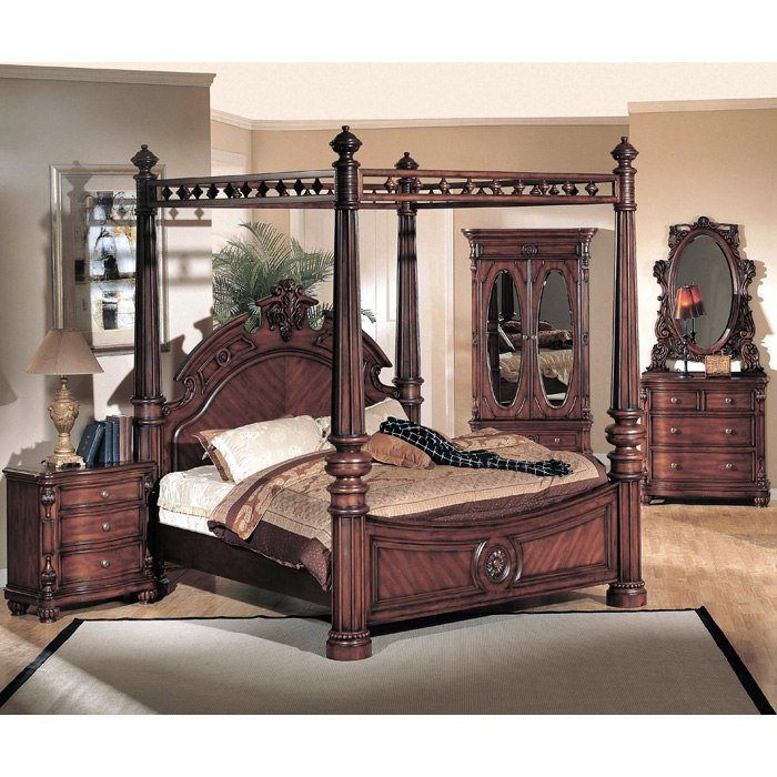 Best Corina Dark Cherry Wood Bedroom Set Dcg Stores With Pictures