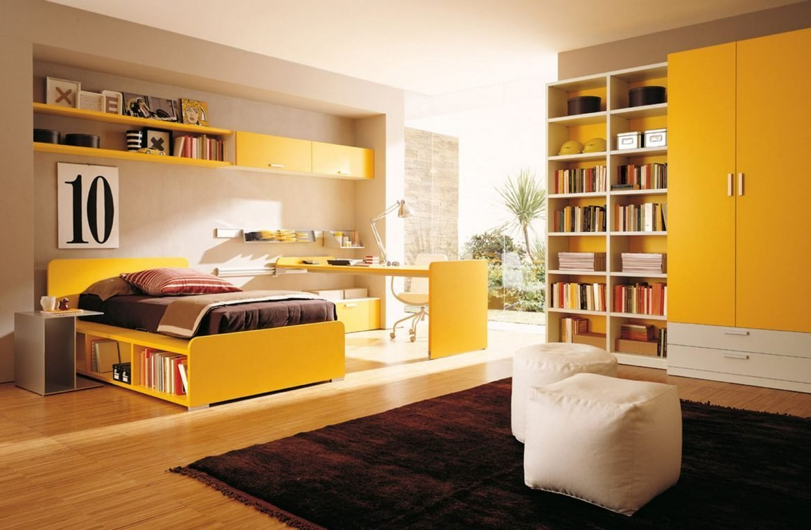 Best Yellow Color T**N Bedroom With Combination Bookshelves And With Pictures