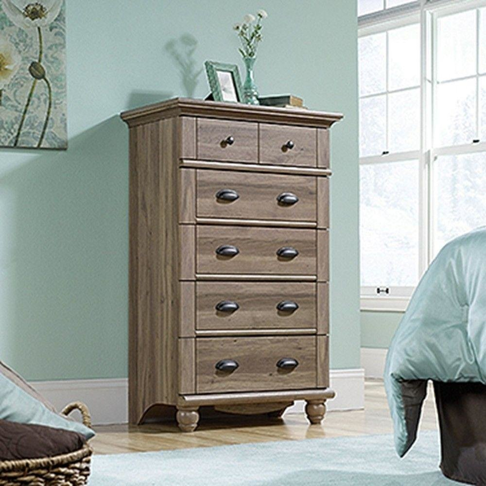 Best Sauder Harbor View 5 Drawer Salt Oak Chest 414941 The With Pictures