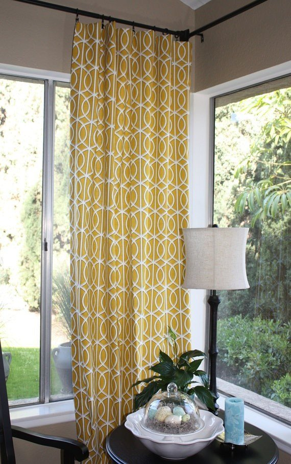 Best Yellow And Grey Curtain Panels X Grommet Drapes Home With Pictures