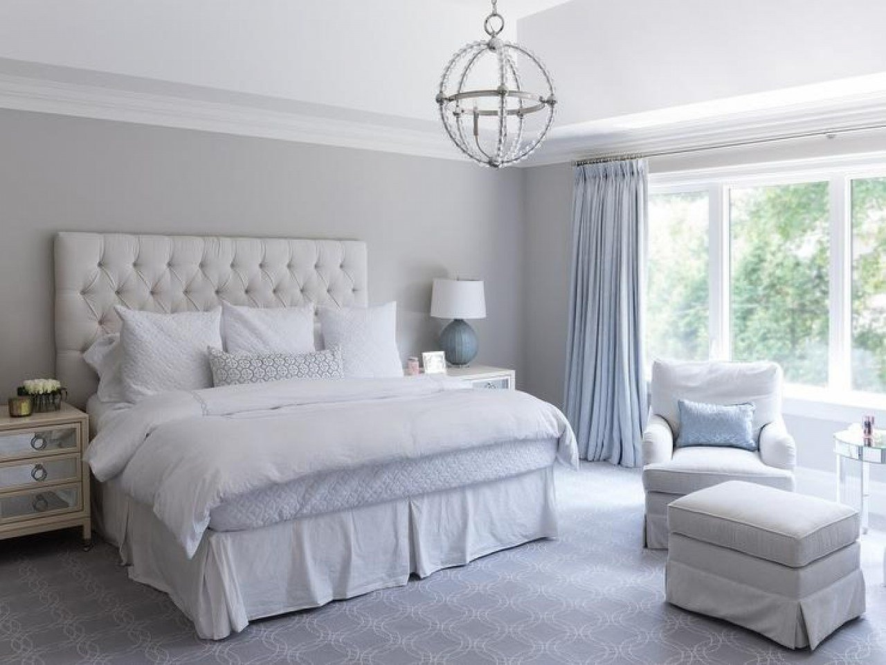 Best Cornflower Blue And White Bedroom Curtains Designs With Pictures