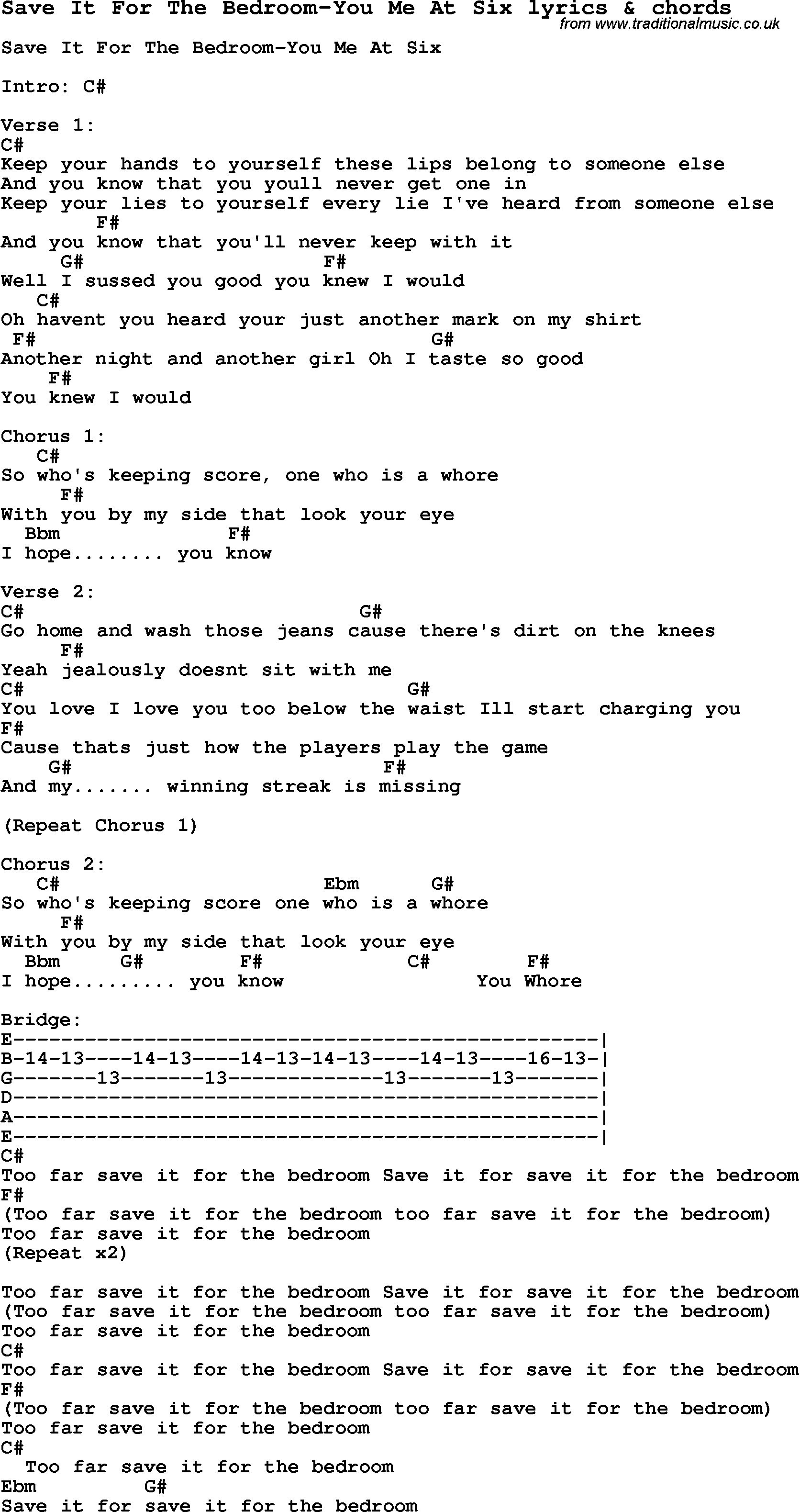 Best Love Song Lyrics For Save It For The Bedroom You Me At Six With Pictures