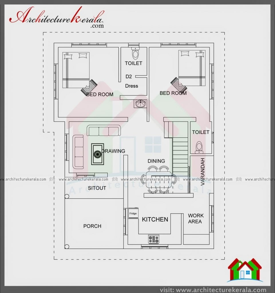 Best Elegant 2 Bedroom House Plans Kerala Style 1200 Sq Feet With Pictures
