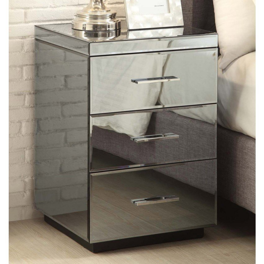 Best Rio Smoke Mirrored Bedside Tables Dresser Mirror Furniture With Pictures
