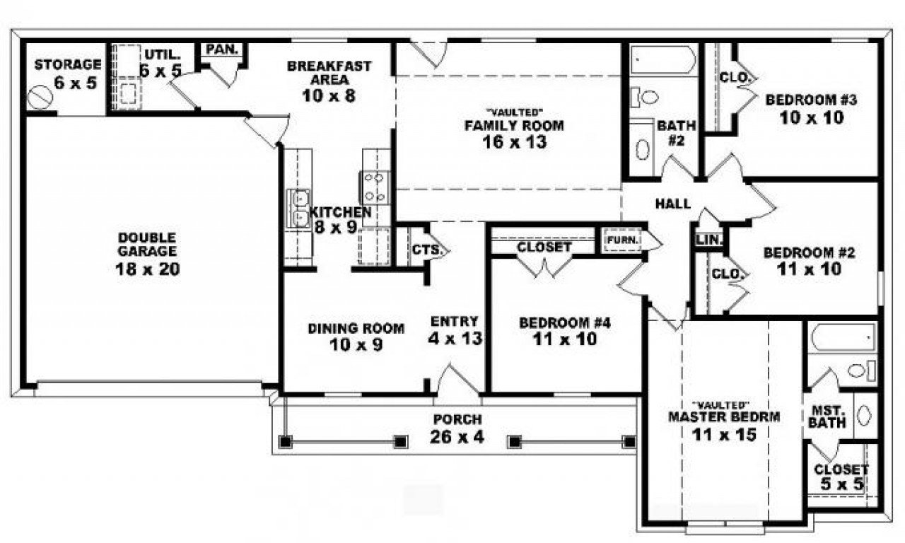Best 4 Bedroom One Story Ranch House Plans Inside 4 Bedroom 2 Story 5 Bedroom Floor Plans With Pictures
