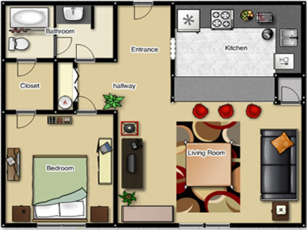 Best One Bedroom Apartment Floor Plan One Bedroom Apartment With Pictures