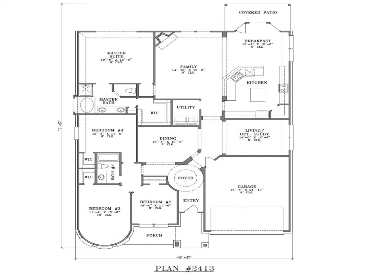 Best One Story 4 Bedroom Homes 4 Bedroom One Story House Plans With Pictures