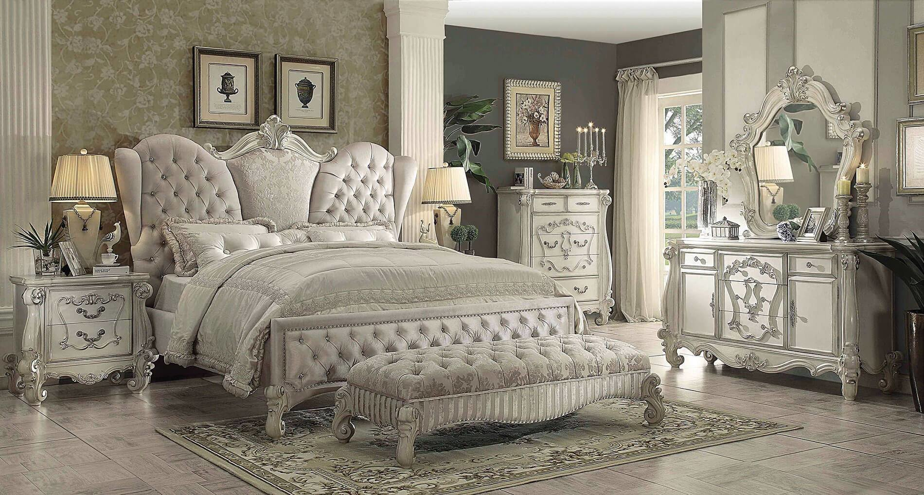 Best Acme 4 Piece Versailles Bedroom Set In Ivory Velvet Usa With Pictures