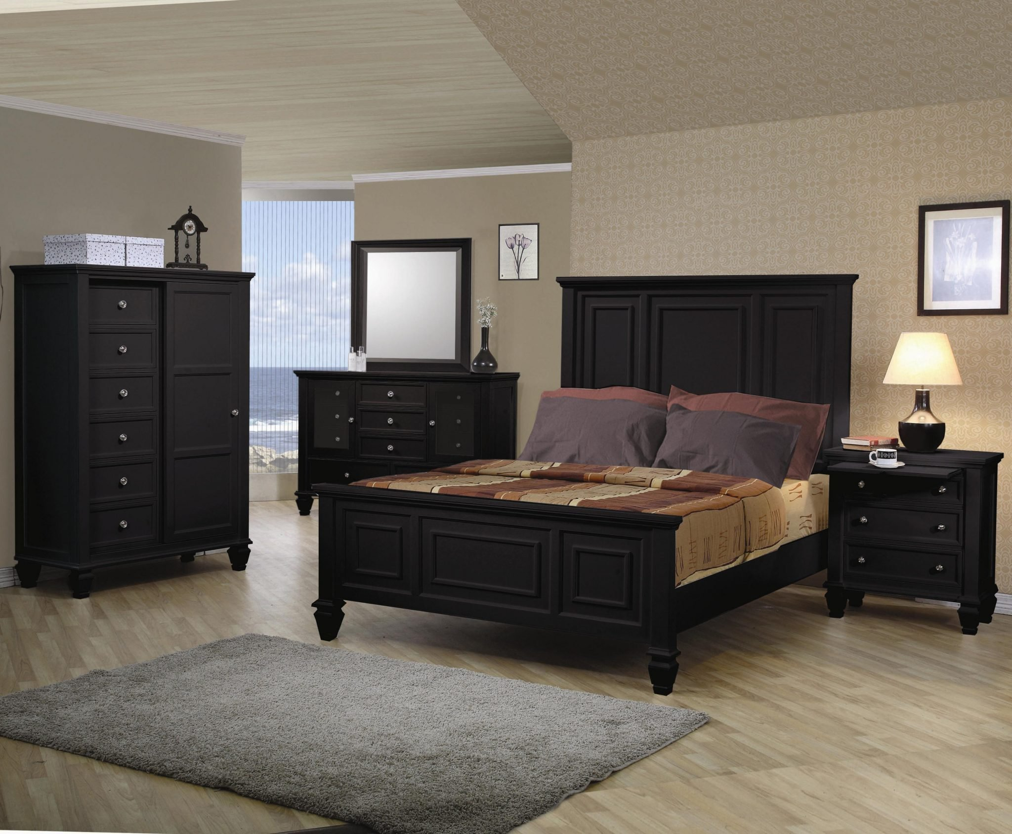Best Sandy Beach Black Classic High Headboard Bedroom Set With Pictures