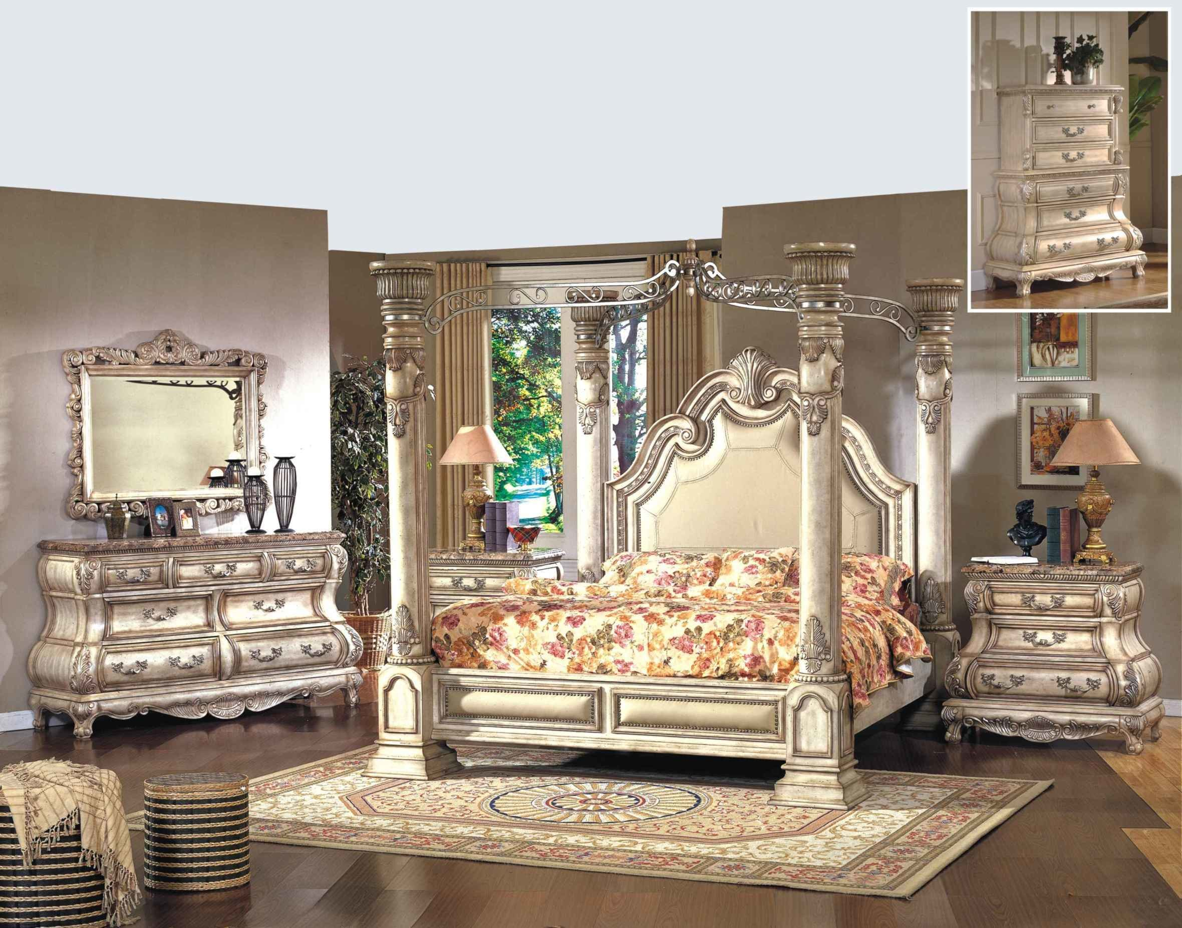 Best Mcferran 4 Pc Monaco B9087 Antique Beige Bedroom Set With Pictures