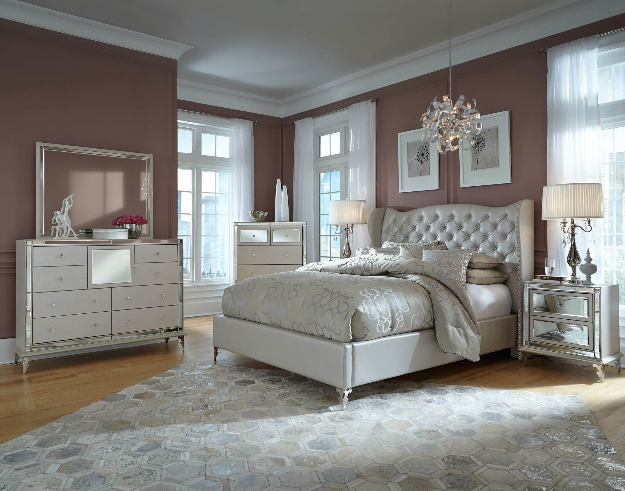 Best Aico Hollywood Loft Frost Upholstered Platform Bedroom Set With Pictures
