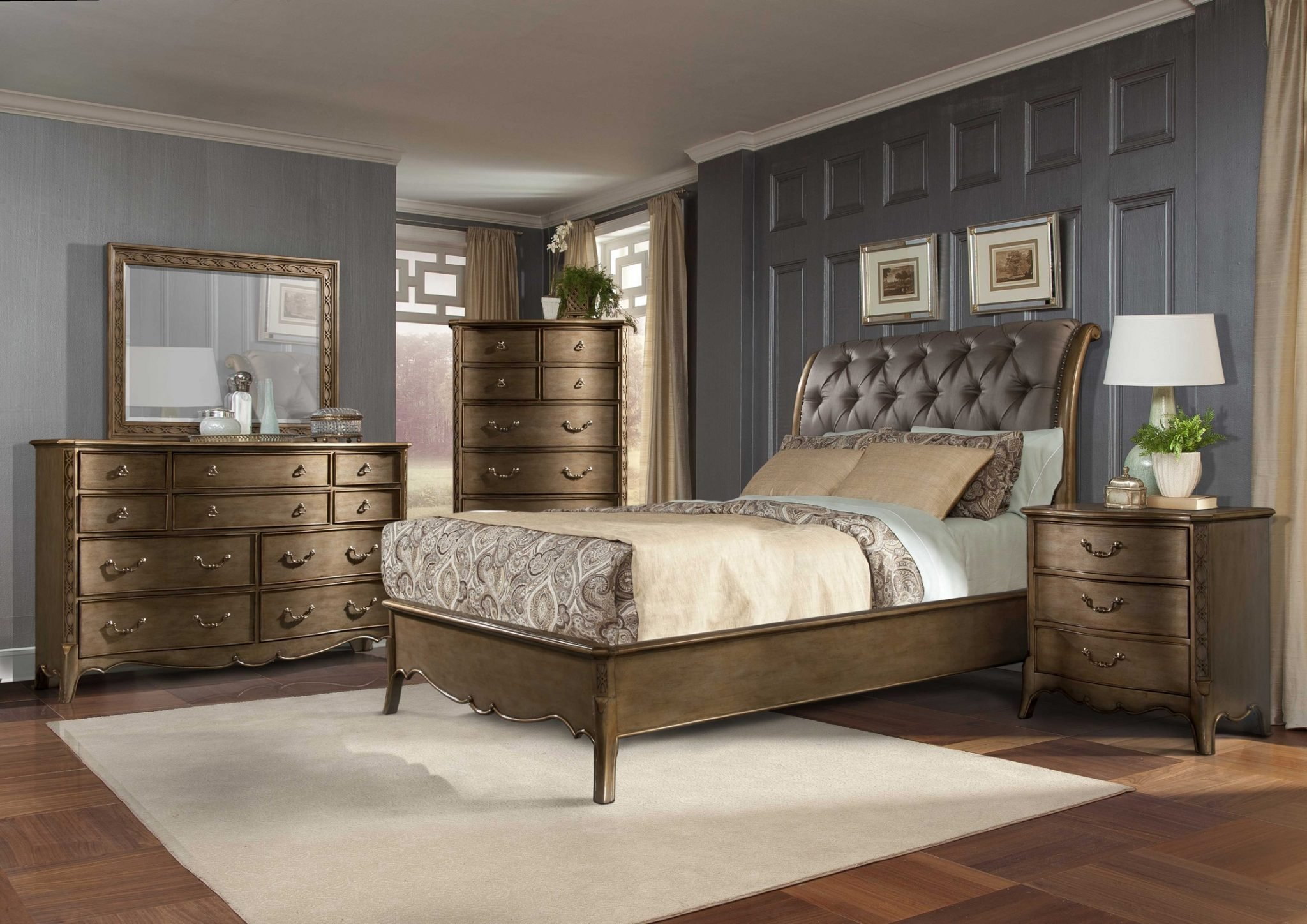 Best Homelegance 4 Pc Clayton Antique Gold Sleigh Bedroom Set With Pictures