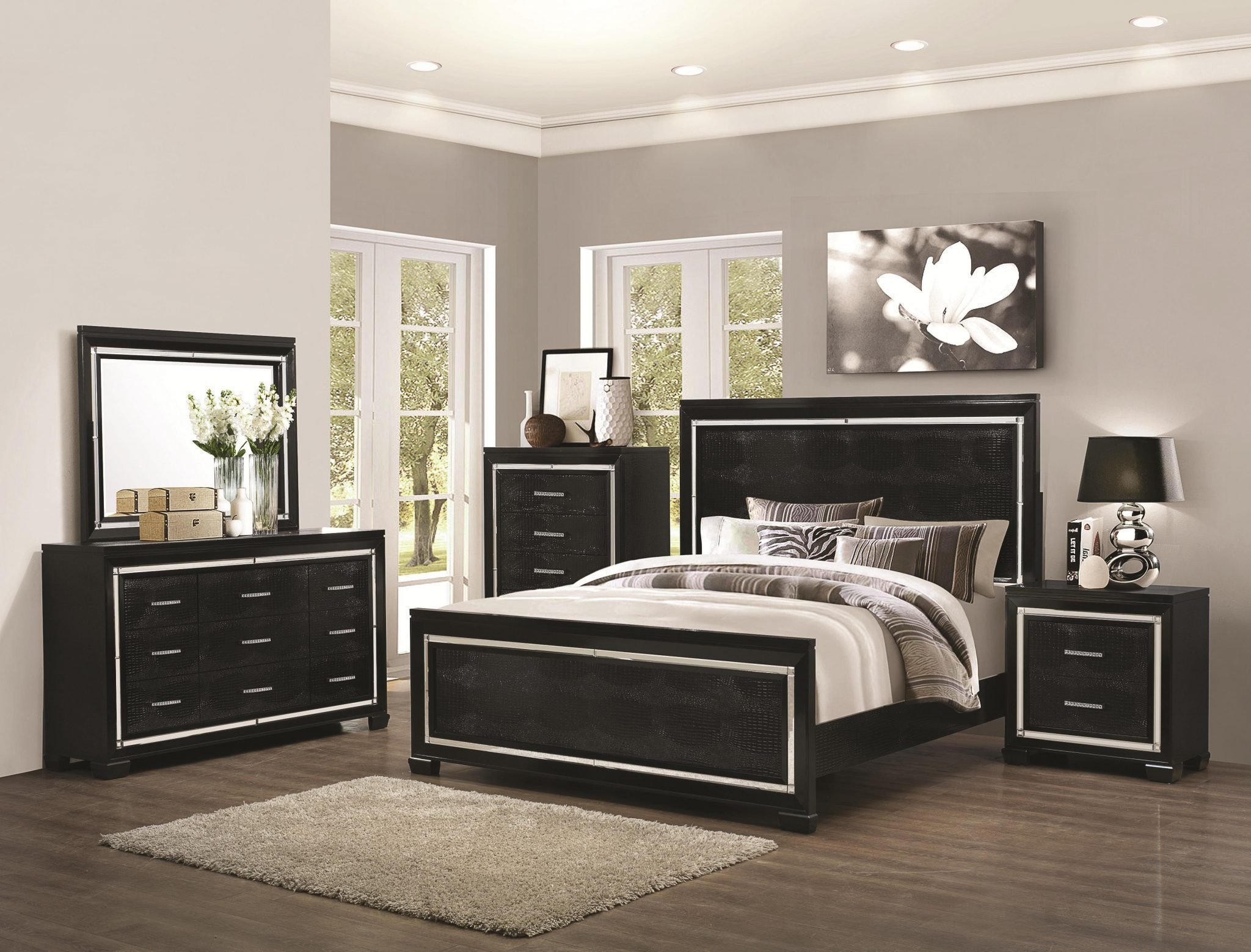Best Coaster Furniture 4 Pc Zimmer Black Crocodile Pattern With Pictures
