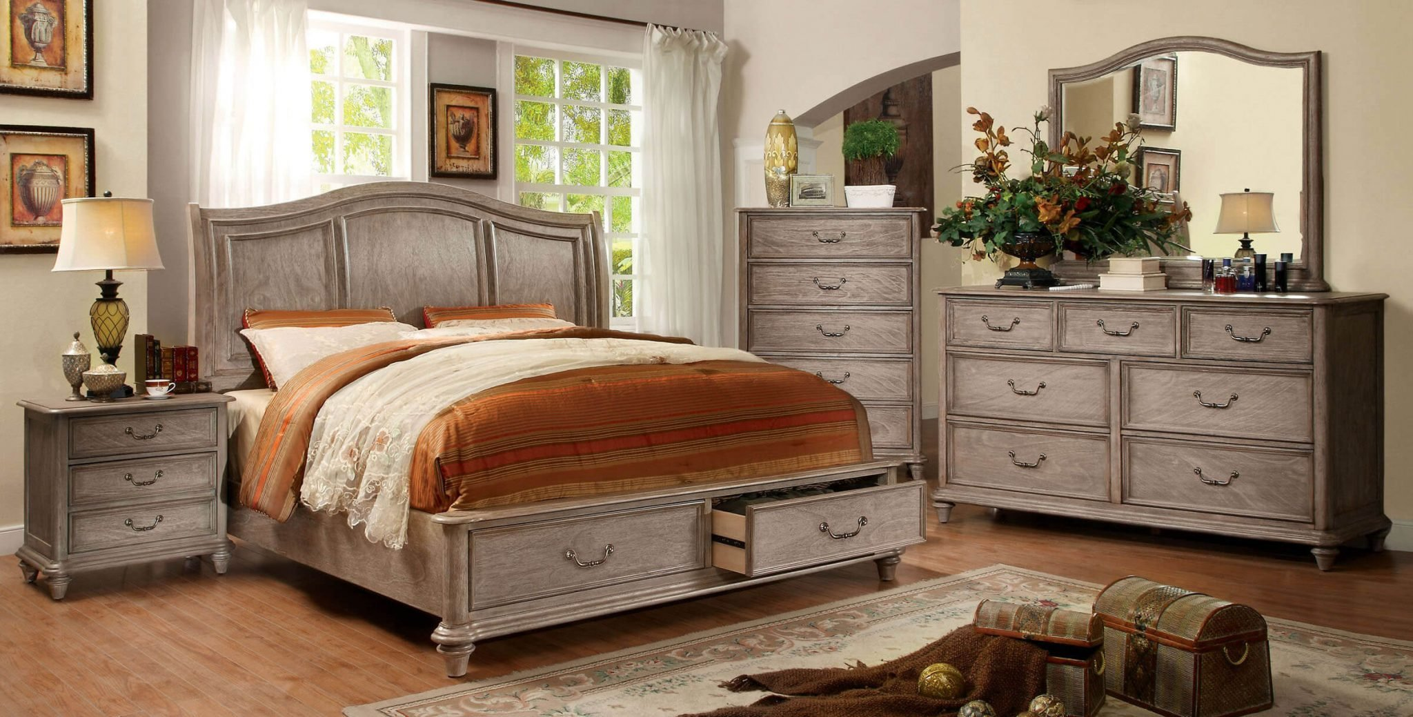 Best 4 Piece Belgrade I Platform Rustic Storage Bedroom Set Cm7613 With Pictures
