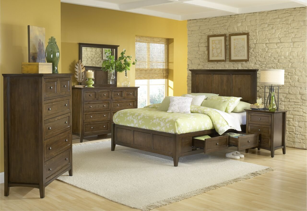 Best 4 Piece Modus Paragon Solid Wood Storage Bedroom Set With Pictures