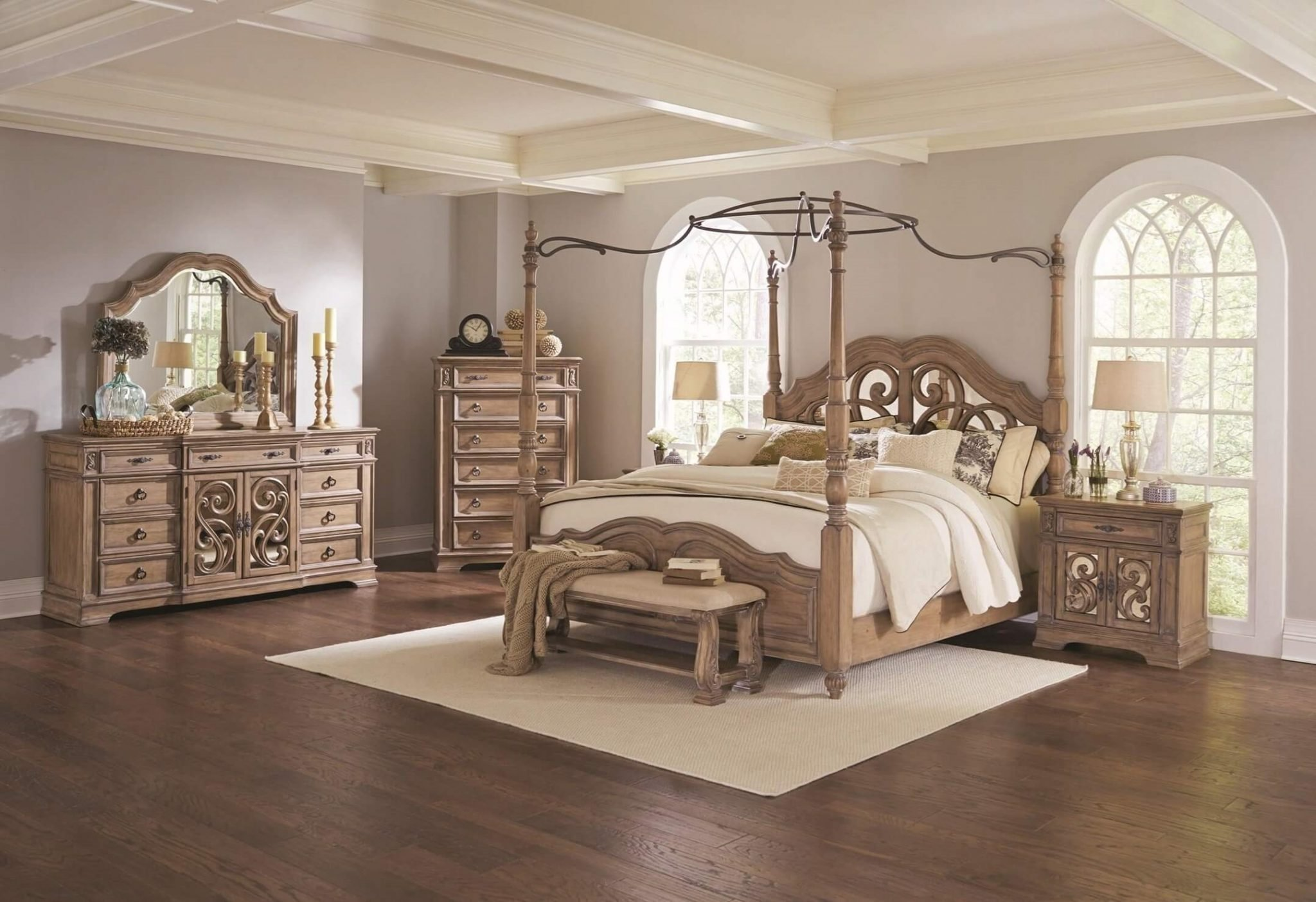 Best 4 Piece Coaster Ilana Canopy Bedroom Set Antique Linen With Pictures